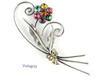 Brooch Uncas Sterling Rhinestone Flower Large