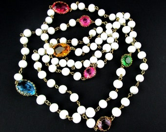 White Glass Beaded Necklace Set Pastel Bead