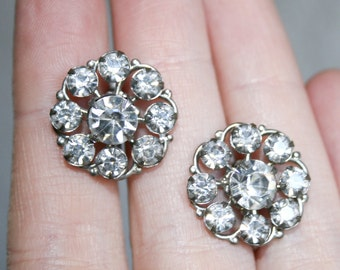 Clear Bright Rhinestone Screw Back Earrings