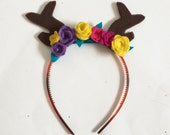 Antler and Flower Headband