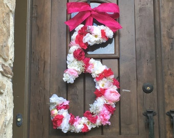 24 Inch multi color Floral Wedding Wreath Initial