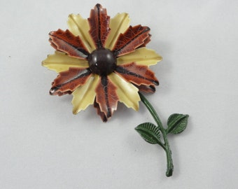 Flower Brooch- Vintage Enamel Brooch- Brown & Tan Floral Brooch- Vintage 60s Brooch, Metal Daisy Pin, Enamel Flower Brooch