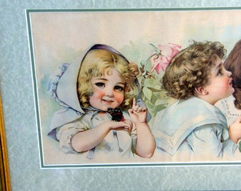 "Antique Yard Long Chromolitho Print: 1903 ""Butterfly Time"" signed by Maud Humphrey (Bogart's Mom) New Frame, Sweet Victorian Children"
