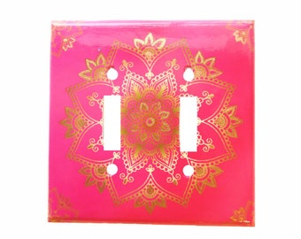 Boho Switchplate Cover - Pink Gold Mandala - Double Light switch - Bohemian Bedroom Decor - Rocker cover - Electrical Cover