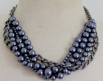 Vintage Statement Necklace Tahitian Pearl Gun Metal Chain