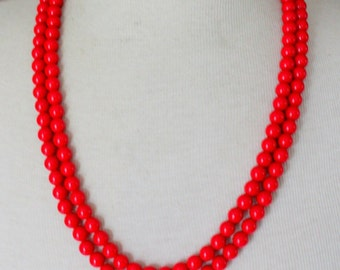 Vintage Necklace Red Beaded Enameled Long Multistrand Layered