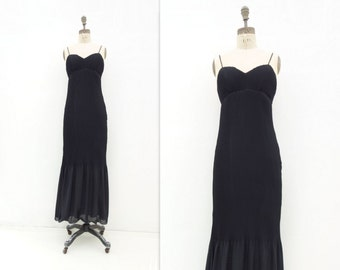 Vintage Black Formal 90s Maxi Dress Black Formal Dress Micro Pleat Dress Black Maxi Dress Empire Black Dress 90s Party Dress s