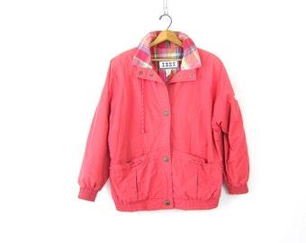 vintage oversized Pink Spring jacket Baggy Parka coat 1980s IZZI Hipster Long Summer Jacket Women's Size Medium Dell's
