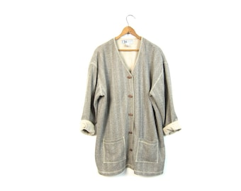 Oatmeal Cardigan Sweater Thin Rib Sweater Top Wooden Toggles Button Up Beige Knit Sweater Minimal Vintage Top with POCKETS Long Sleeve Large