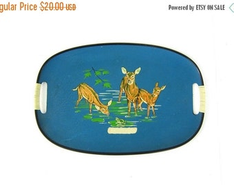 Large blue Deer Platter with handles. Vintage Mod Table decor// blue and green. Made in Japan