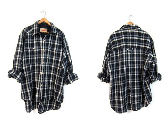 Buffalo Plaid Shirt 80s Wool Flannel Gray White Black