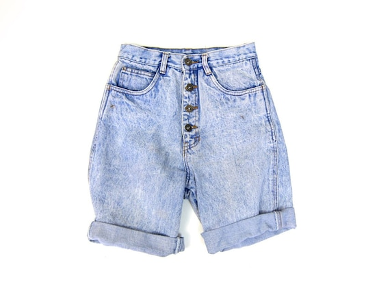 Vintage 80s Jean Shorts BUTTON FLY High Waist Denim Shorts Worn In Hipster Jean Shorts Roll Up 1980s Grunge Summer Shorts Womens Small XS