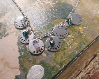 The Tracie Necklace - Tiny Disc Name Necklace with Birthstone Crystals