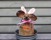 Primitive Easter peter Cottontail mouse, easter mouse, Bunny Mouse with carrot