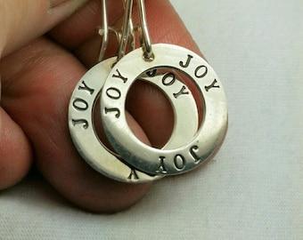 Sterling silver JOY earrings, monogram Ring earrings, Joy statement earrings, ready to ship