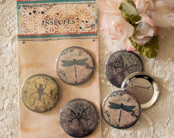 Badges Set - Button- Brooches - Dragonfly - Butterfly - Beetle
