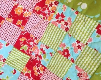 Baby Girl Quilt Lovey Table Topper  Nursery Gift Stroller OOAK Bonnie & Camille 9 patch Green Red Aqua Flowers