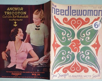 Vintage 1930s Needlecrafts Magazine The Needlewoman July 1936 30s sewing knitting book womens sweaters nursery motifs millinery flowers belt