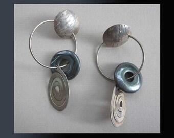Artisanal BEAUTIES-Long Dangle Earrings by Barbara Sucherman,Textured Sterling Silver/Hammered Spirals/Hematite Stones,Vintage Jewelry,Women