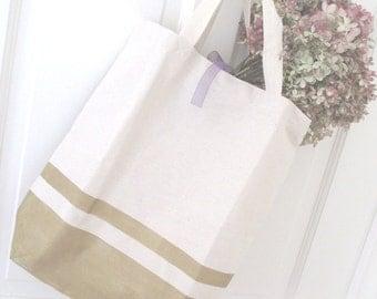 Market Tote Bag * Canvas * Gold Stripe