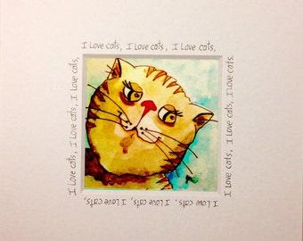 cat art framed