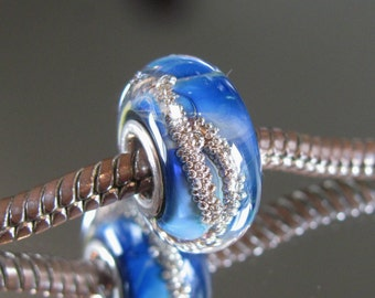 """Tangled Sky Glass """"Heaven"""" #1 Fully Sterling Silver Lined Lampwork Charm Bead BHB"""