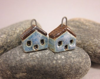 READY TO SHIP...Miniature House Charms in Stoneware...Set of 2...Blue