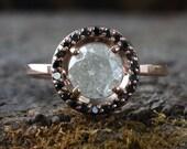 Natural Ice Diamond Ring with Black Diamond Pave Halo