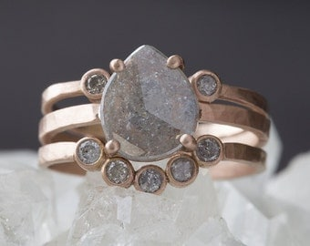 One of a Kind Natural Diamond Slice Ring