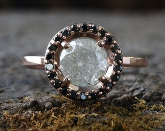 Natural Ice Diamond Ring with Black Diamond Pave Halo