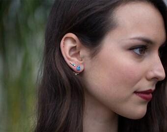 Turquoise + Diamond Ear Jackets
