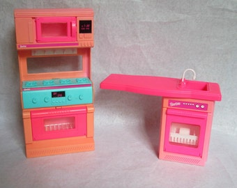 1994 Barbie Dreamhouse Oven Stove Microwave + Dishwasher and Sink