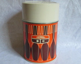 Vintage Metal Thermos for Soup 1971 Orange & Brown