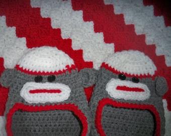 Sock Monkey Slippers-Monkey Socks-Women's slippers