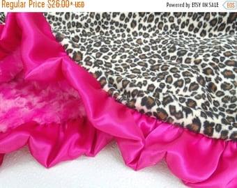 ON SALE Minky Baby Blanket in Pink Leopard Animal Print - Cheetah Minky Baby Blanket - Pink and Brown Minky Baby Blanket - Satin Ruffle Blan