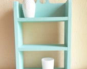 Turquoise Wood Shelf Wooden Shadow Box Curio Shelves Hole Cut-out