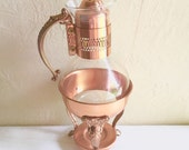 Excellent Mid-Century Coffee Carafe Complete Set Copper and Glass