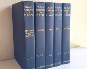 Set of 5 Antique Books Blue Home Decor Vignette The Great Nations of Europe 1908 Scribners