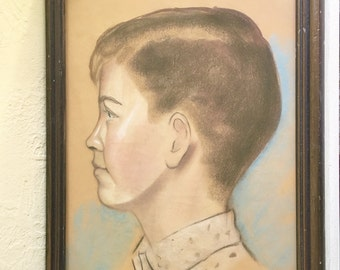 Original Chalk Art Boy Profile Framed Antique Wood Picture Frame Wall Hanging Large Big