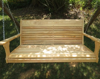 Wood Tree Swings Larger Porch Swing, 19 inches deep with 19 inch high back