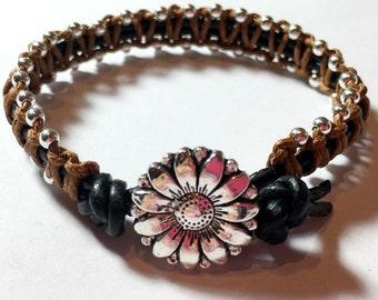 Beaded Leather Wrap Bracelet, Macrame Leather Wrap Boho Bracelet ,Leather Bracelet with sterling silver 3mm beads artisan HandMade