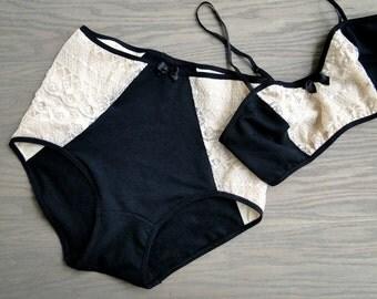 Organic cotton underwear, organic lingerie black bralette high waist panties, handmade lingerie shop, made in Canada, custom made underwear