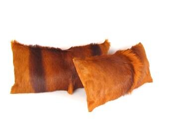 Springbok Pillow ~ Plush Fur ~ Rectangular Fur Pillow ~ Bright Orange Pillow ~ Springbok Pillow ~ Hide Pillow - Springbok Lumbar Pillow