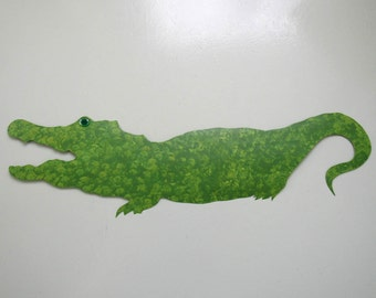 Metal Wall Art Gator Sculpture - Petunia - Extra Large Reclaimed Metal Wall Decor Patio Deck Sports Indoor Outdoor Wall Art 11 x 37