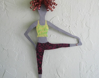 Metal wall  art - Yoga lady - Handmade recycled metal wall art - yellow lime copper - 12  x 19
