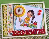 School Girl Handmade Greeting Card