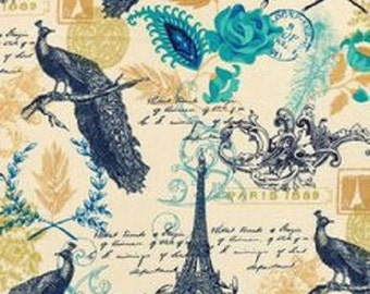 Paris Peacock Fabric Print Paris Fabric French Fabric Eiffel Tower Fabric Floral Fabric Romantic Fabric France Fabric BTY By The Yard
