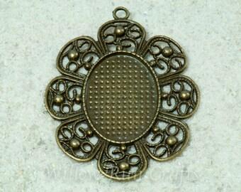20 pcs 22 x 30 Antique Bronze Decorative Edge Oval Pendant Tray 22 x 30 with 20 Glass Cabochons (19-18-510), Blank Bezel Cabochon Setting