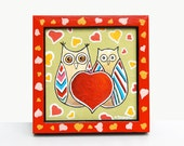 Valentine's Day Gift, Framed Art Owls Painting, Owl Art, Love Art, Red Heart Romantic Gift