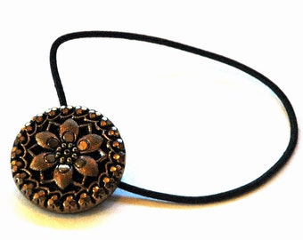 Decorative Ponytail Holder, Black with Gold Luster Finish Vintage Button, Stylized Flower Design, Elegant Hair Accerrories, Friendship Gift